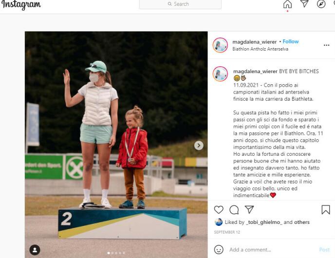 LEGGER OPP: Magdalena Wierer legger børse og ski på hylla. Skjermdump: magdalena_wierer/Instagram