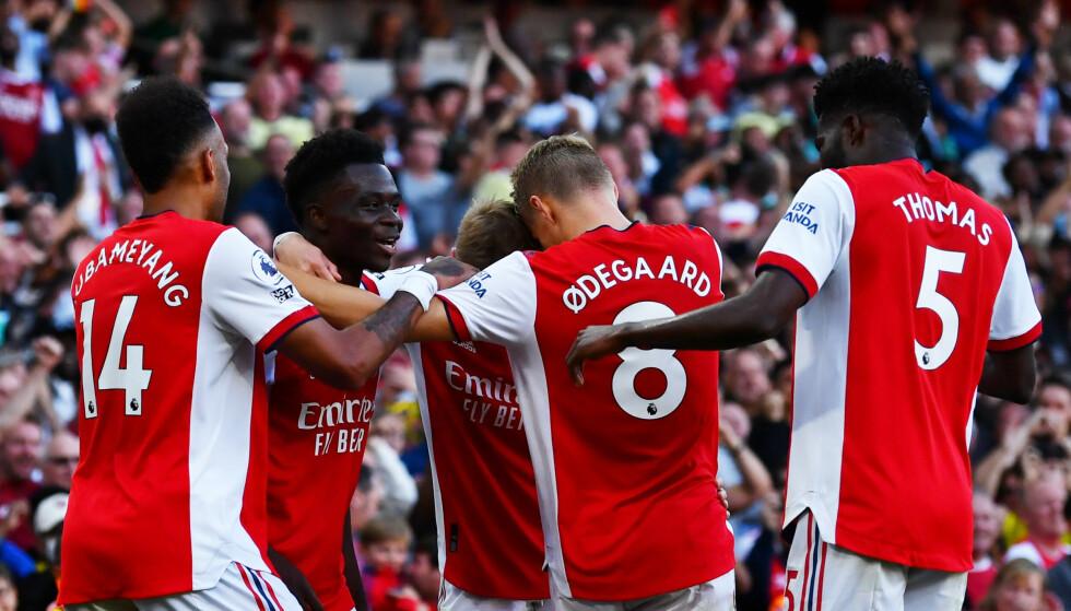 OPPTUR: Martin Ødegaard og Arsenal fikk mye å juble for søndag kveld. Foto: Dylan Martinez/Reuters