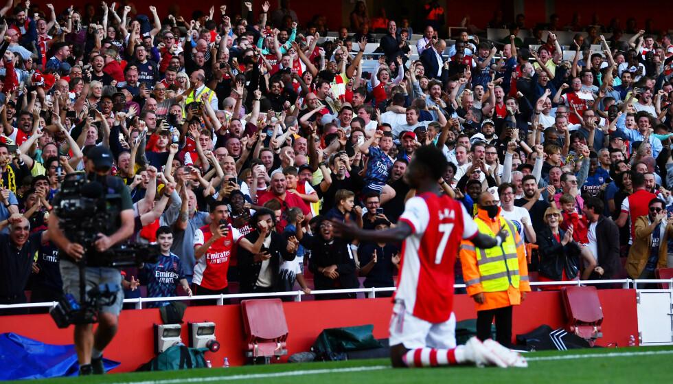 DRØMMEKAMP: Bukayo Saka leverte en stor kamp mot Tottenham. Foto: Dylan Martinez/Reuters