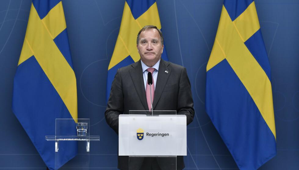 CORONA: Statsminister Stefan Löfven avviser at coronastrategien var mislykket. Foto: Stina Stjernkvist/TT / NTB