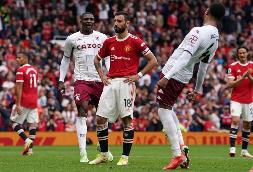 KRITISK: Ole Gunnar Solskjær var kritisk til Aston Villa-spillernes oppførsel da Bruno Fernandes bommet på straffe. Foto: NTB