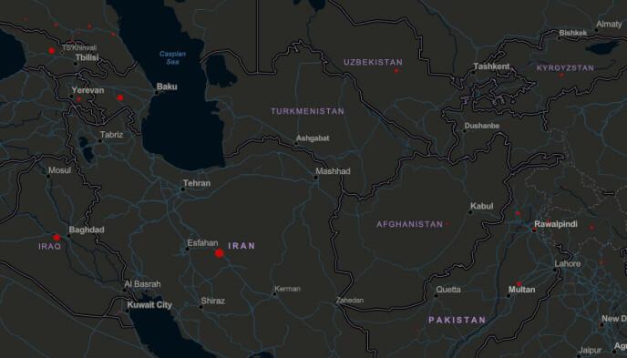 NULL SMITTE: Ifølge oversikten til John Hopkins University er det ingen registrerte smittetilfeller i Turkmenistan. Foto: Skjermdump John Hopkins nettside.