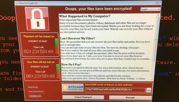 VIRUS: En skjermdump fra en datamaskin ved et britisk sykehus i 2017. Foto: @fendifille via AP/NTB