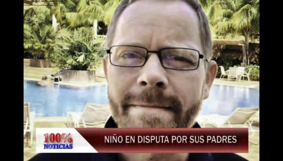 INTERVJUET FAMILIEN: Både Alf Friisø (bildet), hans ekskone og deres sønn, som de da sloss om foreldrerettigheter til, ble intervjuet på nicaraguansk TV i 2015. Foto: Video fra 100% Noticias TV-innslag