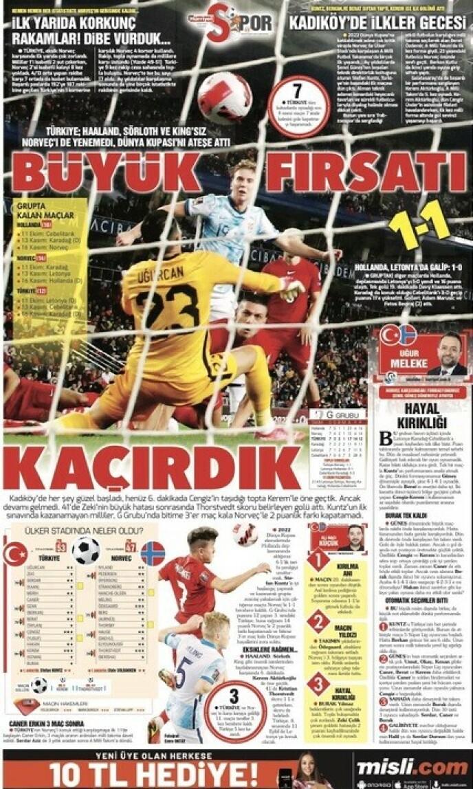 SKUFFET: - Vi gikk glipp av den store muligheten, skriver den tyrkiske storavisa Hürryet lørdag.