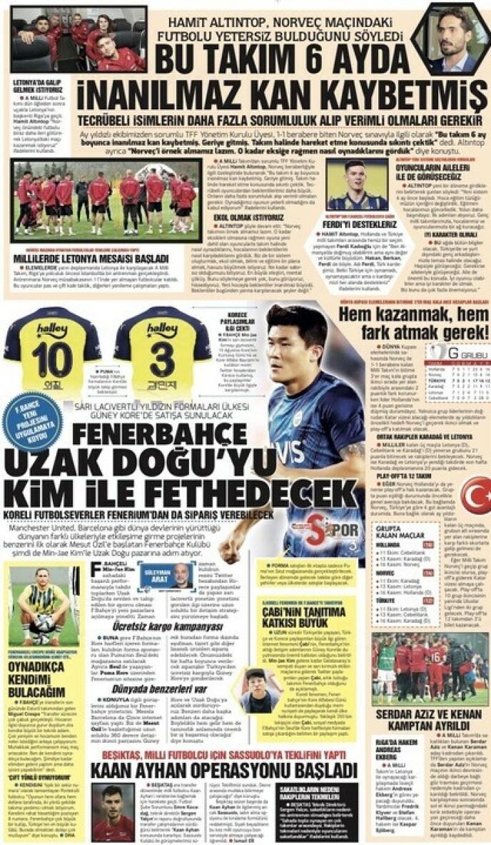 I OVERSKRIFTENE: Uttalelsene til Hamit Altıntop - der Norge trekkes fram som et eksempel - preger søndagsutgaven av storavisa Hürriyet (øverst på sida).