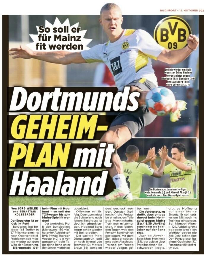 In de titels: Erling Braut Haaland siert de paperbackeditie van Bild i dag.  Avissa onthult opnieuw het geheime plan van Borussia Dortmund voor zijn herstel.