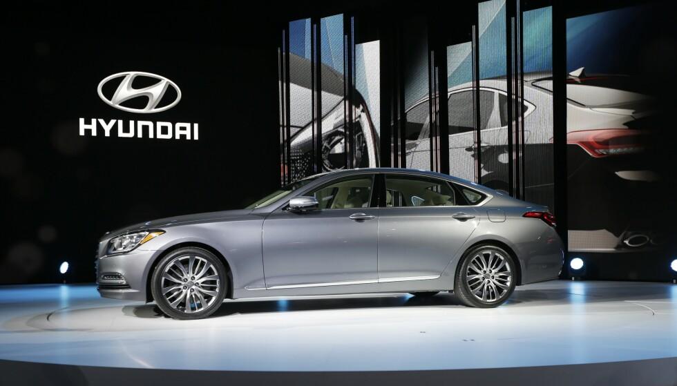 HYUNDAI GENESIS: Det var i en 2014-modell av typen Hyundai Genesis at bilsexen skal ha foregått. Den avbildede bilen er av en tilsvarende modell, men ikke forsikret hos Geico, og har således ingenting med saken å gjøre. Illustrasjonsfoto: AP Photo/Carlos Osorio