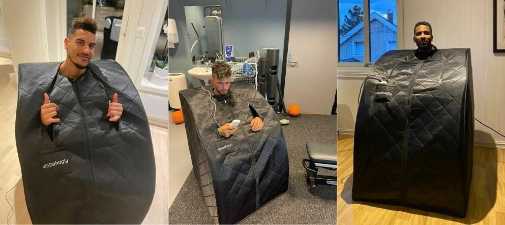 Ohi Omoijuanfo (Molde), Kristoffer Velde (Haugesund) og Amahl Pellegrino (Bodø/Glimt) bruker infrarøde badstuer etter kamper og harde treningsøkter.