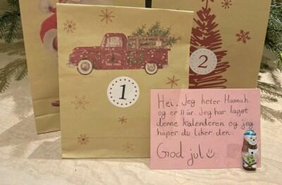 Image: Hannah (11) gir bort julekalenderen sin