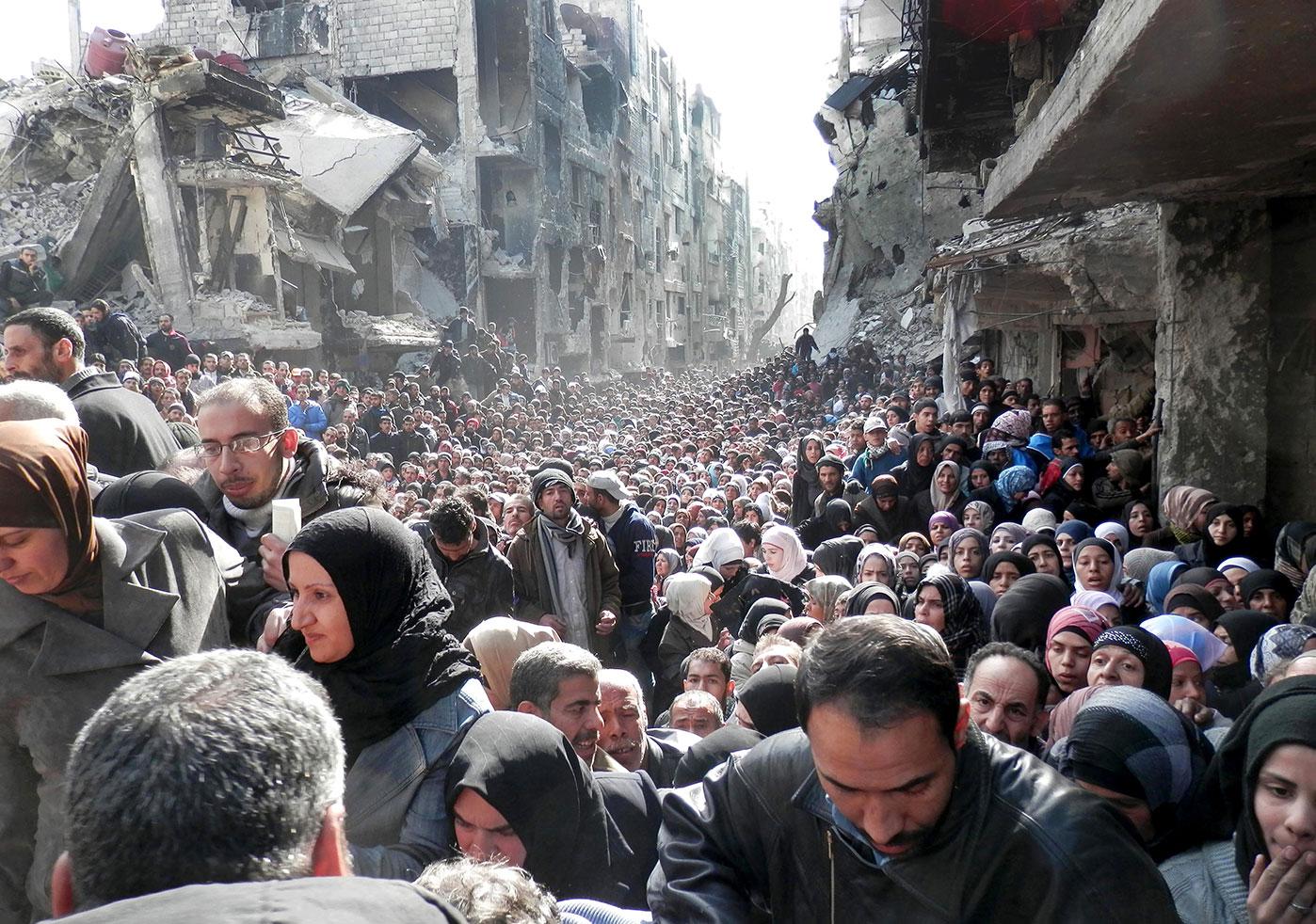 Flykningsleiren i Damaskus i januar 2014